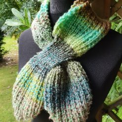 Handmade knitted keyhole scarf.