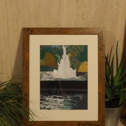 fountain scene thread painting. Artwork. Home decore. 14