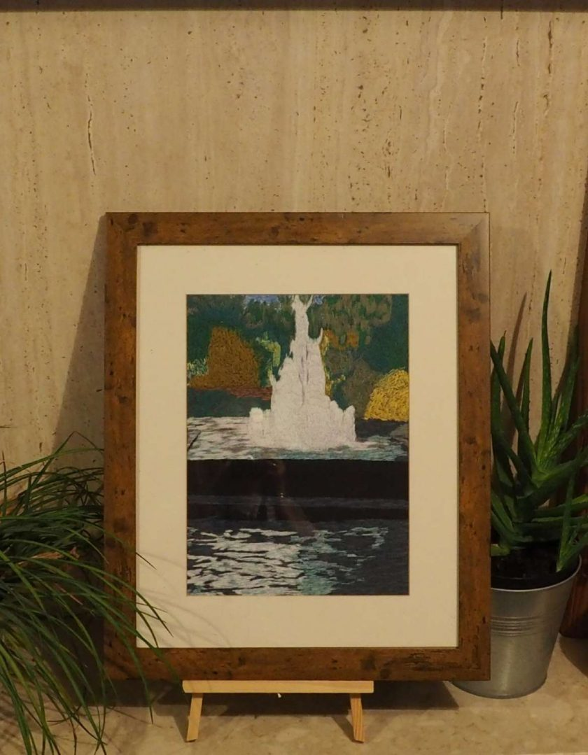 fountain scene thread painting. Artwork. Home decore. 7