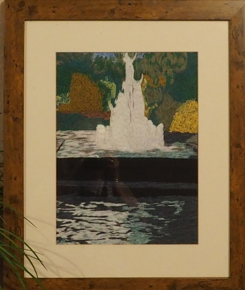 fountain scene thread painting. Artwork. Home decore. 1