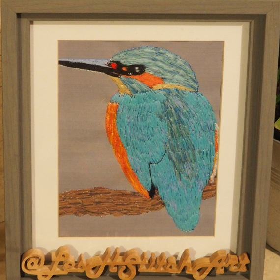 kingfisher thread painting. Artwork.  Home decore. 1