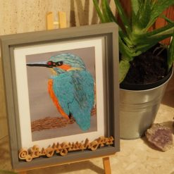 kingfisher thread painting. Artwork.  Home decore. 6