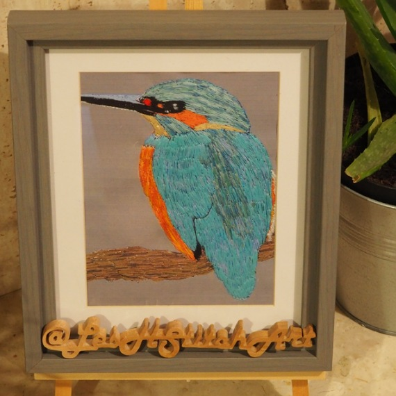 kingfisher thread painting. Artwork.  Home decore. 4