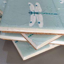 Set of 4 Dragon Fly Ceramic Tile Coasters 4