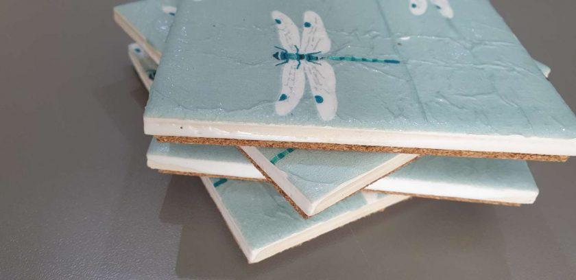 Set of 4 Dragon Fly Ceramic Tile Coasters 2