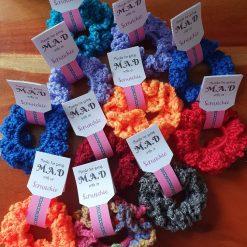 Handmade crocheted scrunchies. Colour choices