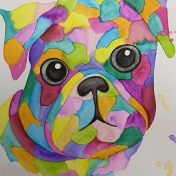Original Watercolour Pug Painting
