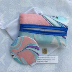 Silk Tissue Holder and Handbag Mirror with Pouch