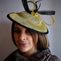 Hatinator ,Natural Beige with black edge,Black feather hand made millinery hat, Unique style, lovely with formal outfit,Hat for the gold cup races .Fascinator for any special occasion, Natural Beige sinamay ,Black decoration , Wedding hat