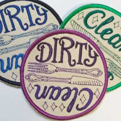 Clean/Dirty Dishwasher Magnet - machine embroidered 10cm