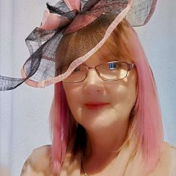 Hatinator, Fascinator Navy Blue and Pink sinamay ,Hand made hat , Wedding Hat, Pink and navy ,Millinery hat, The derby day races hat, any special ocassion, bespoke hat. hand made lilly decoration