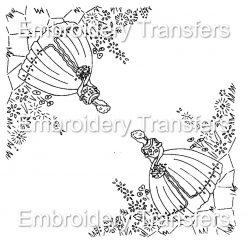 A Crinoline Lady, Southern Belle Corners Vintage Style Iron on Embroidery Transfer Pattern (Copy)