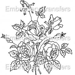 A Rose Bouquet Vintage Style Iron on Embroidery Transfer Pattern