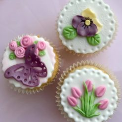 Floral cupcake toppers, x6
