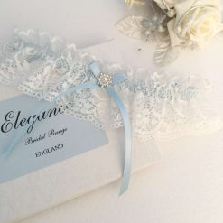 Blue and light Ivory Wedding Garter, Extra Small to Plus Sizes, boxed
