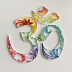 Quilled Rainbow Aum (Om) in box frame – can be personalised perfect Hindu Diwali gift