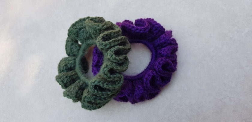 Set of 2 crocheted hair scrunchies 6