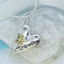Ingot Heart Gaelic Love Pendant with 24K Gold Accent