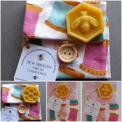 Sew Smooth beeswax thread conditioner in a sewing reels design pouch