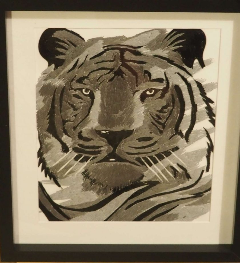 tiger thread painting.  Artwork.  Home decore 1