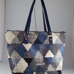 Bedrock Creations - Blue/Grey Geometric Diamonds Tote Bag