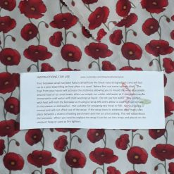 Eco friendly reuseable beeswax food wrap.  21cm square  Red poppies design