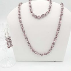 A Beautiful Handwoven Chainmaille/Chainmail set. Sweet Pea Weave in Silver and Pink Aluminium Jump Rings. A perfect gift .