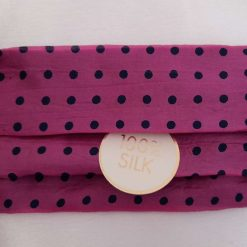 Luxurious pink/navy polka dot pure silk face mask.  Triple layer.