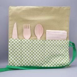 Eco Friendly, Reusable Cutlery Wrap, Napkin and Bamboo disposable Cutlery