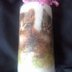 Hand decorated candle with cute kittens