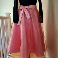 Long Peach Tulle Skirt/Party Skirt/Bridesmade tulle skirt/Middle leinght Skirt/Occasional Skirt