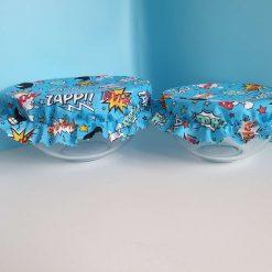 Bowl Cover Set - Blue Cartoon words