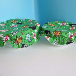 Bowl Covers Set - Green cartoon words