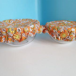 Bowl Cover set - Bright orange floral