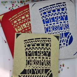 XMAS Papercut Christmas card - Merry Christmas Stocking