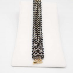 Chainmaille/Chainmail Bracelet in Elf Sheet. Hand Woven in Gun Metal and Champagne Aluminium Jump Rings