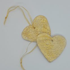 Romantic Valentine gift - Set of 2 gold clay hearts 5