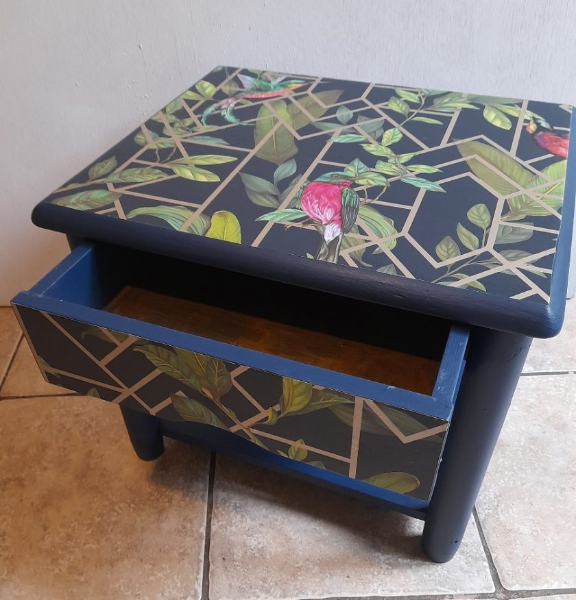 Furniture - Blue and gold tropical decoupage lamp table 1