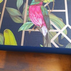 Furniture - Blue and gold tropical decoupage lamp table 7