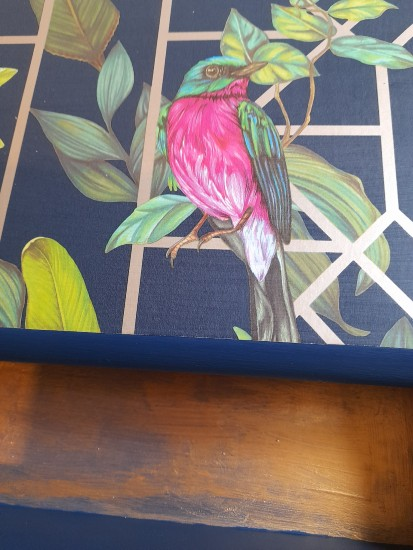 Furniture - Blue and gold tropical decoupage lamp table 4