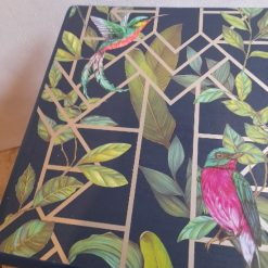Furniture - Blue and gold tropical decoupage lamp table 6