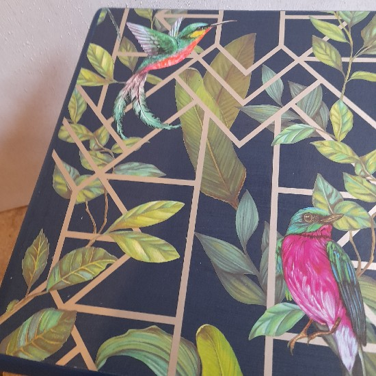 Furniture - Blue and gold tropical decoupage lamp table 3