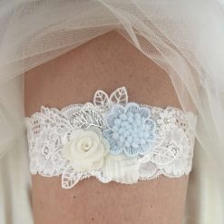 Wedding garter, blue and Ivory flowers
