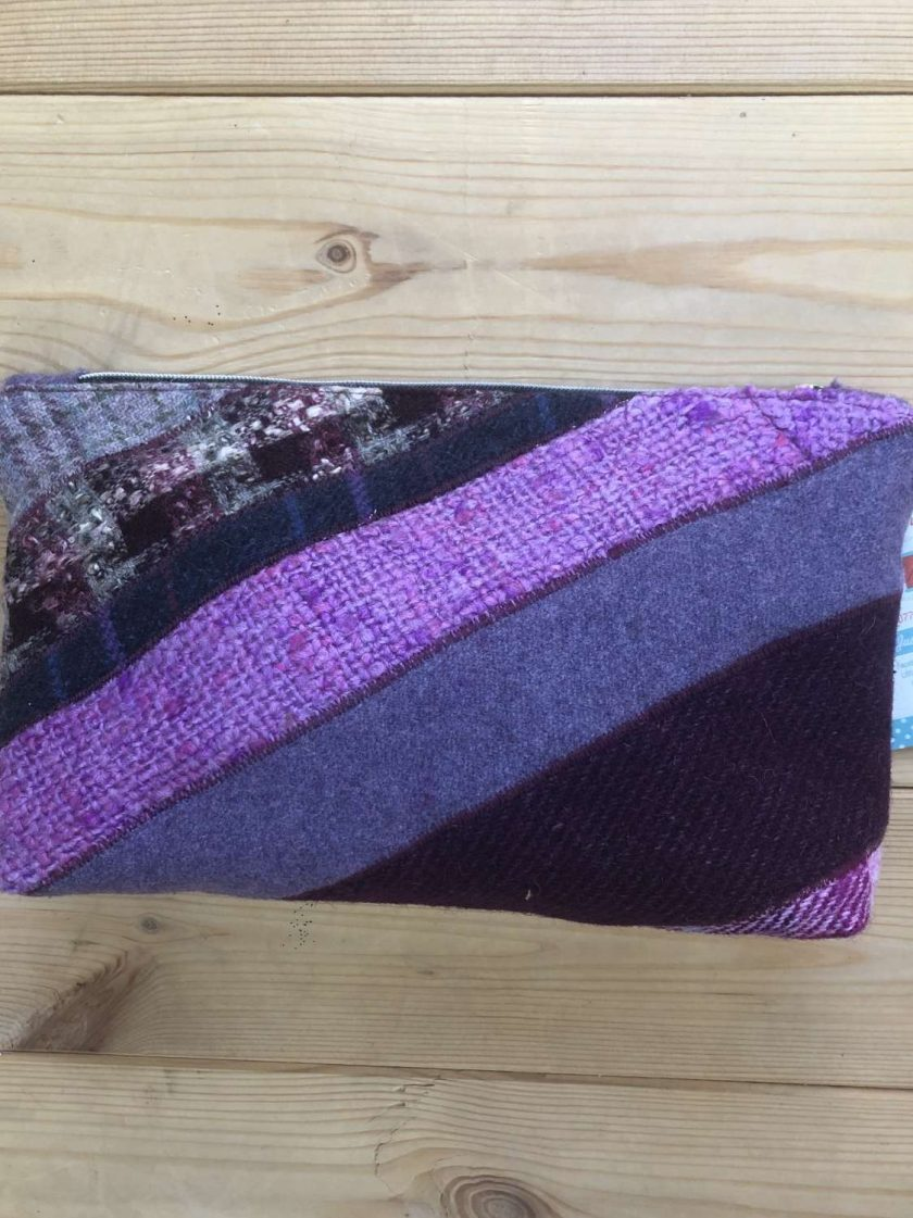 Purple Wool Tweed Make Up Bag 3