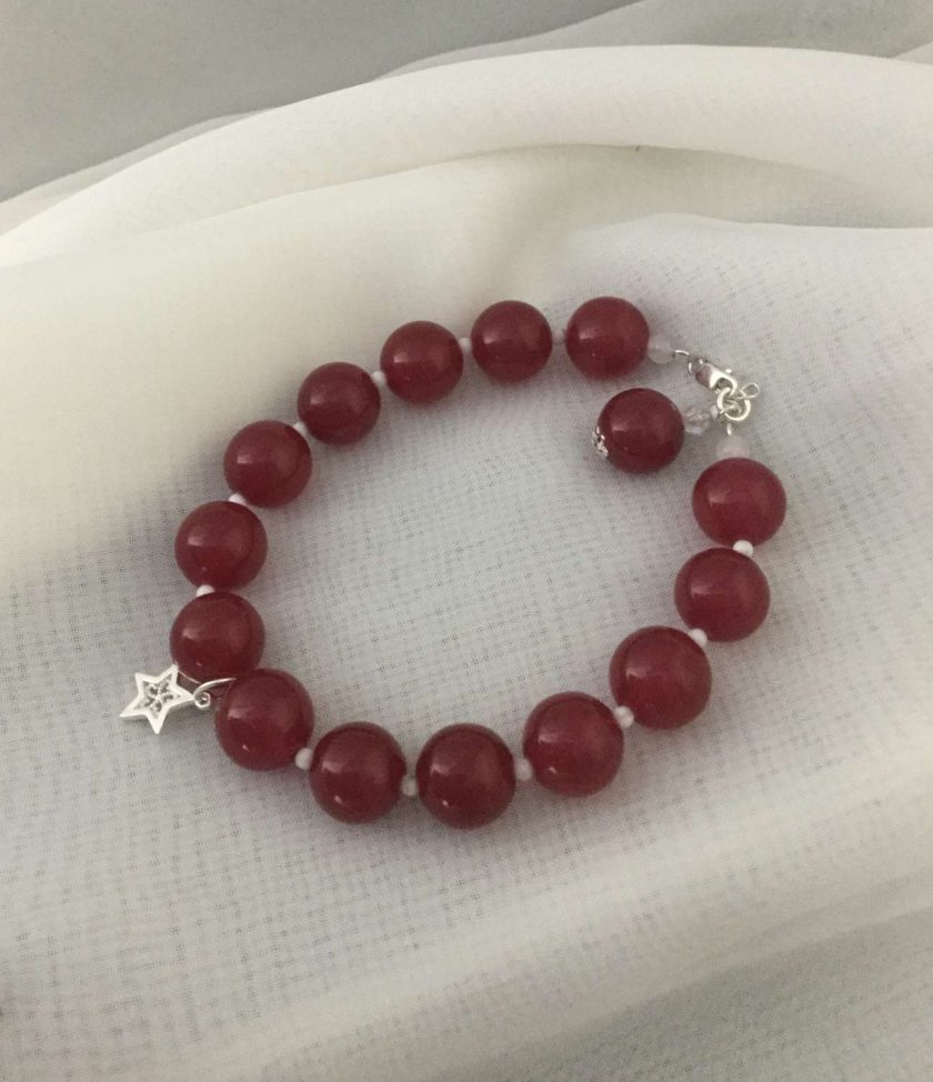 Gemstone Bracelet Red Coloured Quarts Beads with Silver Charm 1