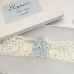 Wedding Garter, Blue and Ivory Flowers, Extra Small to Plus Sizes, boxed