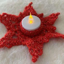 Crochet Tea Light Holder Red Glitter