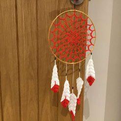 Red crochet dreamcatcher