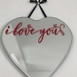 Heart-Shaped Mirror- I love you -decor mirror