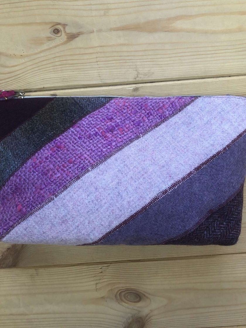 Purple Wool Tweed Make Up Bag 1